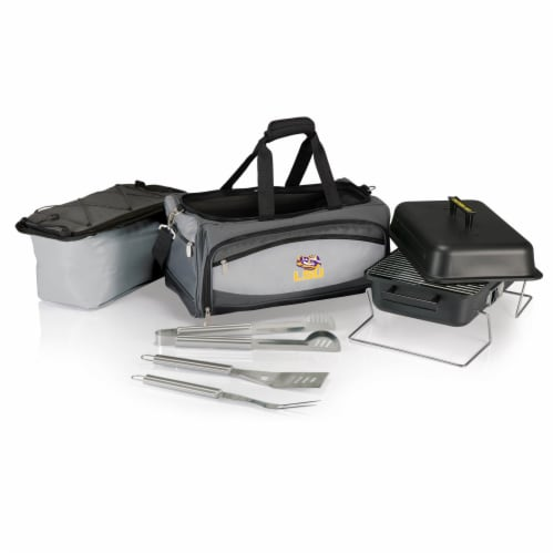 LSU Tigers - Portable Charcoal Grill & Cooler Tote Perspective: back