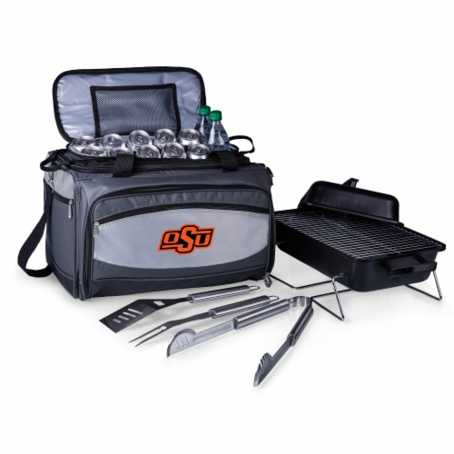 Oklahoma State Cowboys - Portable Charcoal Grill & Cooler Tote Perspective: back