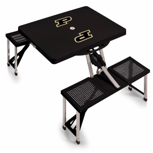 Purdue Boilermakers - Picnic Table Portable Folding Table with Seats Perspective: back