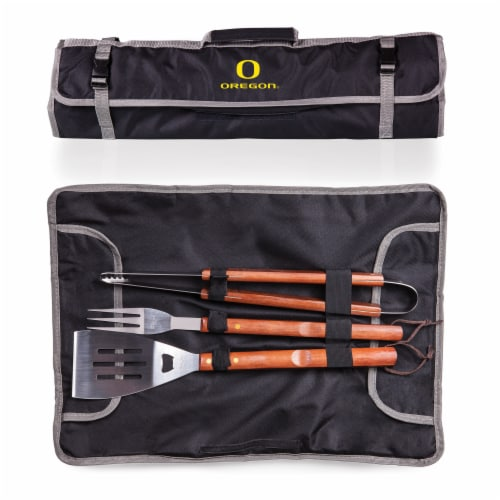 Oregon Ducks - 3-Piece BBQ Tote & Grill Set Perspective: back