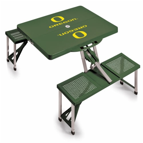 Oregon Ducks - Picnic Table Portable Folding Table with Seats Perspective: back