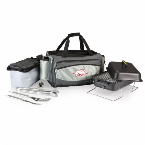 Arkansas Razorbacks - Vulcan Portable Propane Grill & Cooler Tote Perspective: back