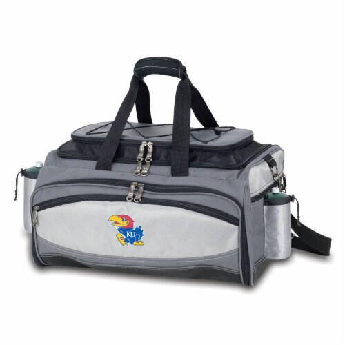 Kansas Jayhawks - Vulcan Portable Propane Grill & Cooler Tote Perspective: back