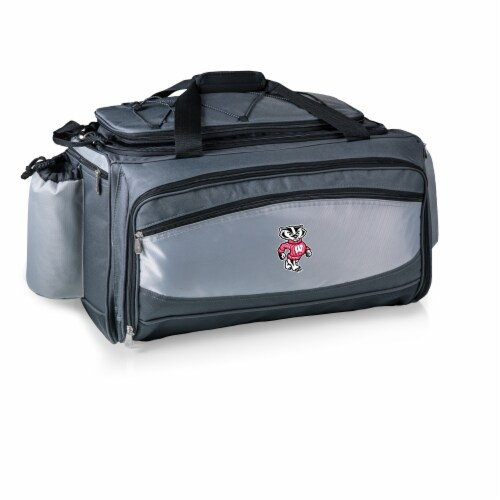 Wisconsin Badgers - Vulcan Portable Propane Grill & Cooler Tote Perspective: back