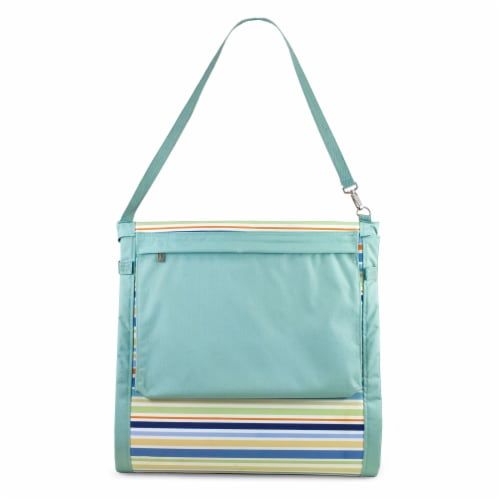 Beachcomber Portable Beach Chair & Tote, Sky Blue with Multi Stripe Pattern Perspective: back