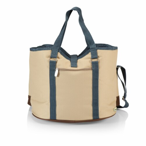 Wine Country Tote – Wine & Cheese Picnic Tote, Beige Canvas with Navy Blue & Brown Accents Perspective: back