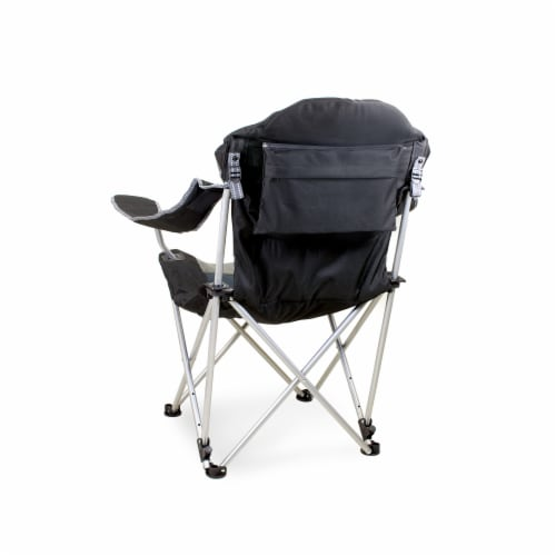 Reclining Camp Chair, Black with Gray Accents Perspective: back