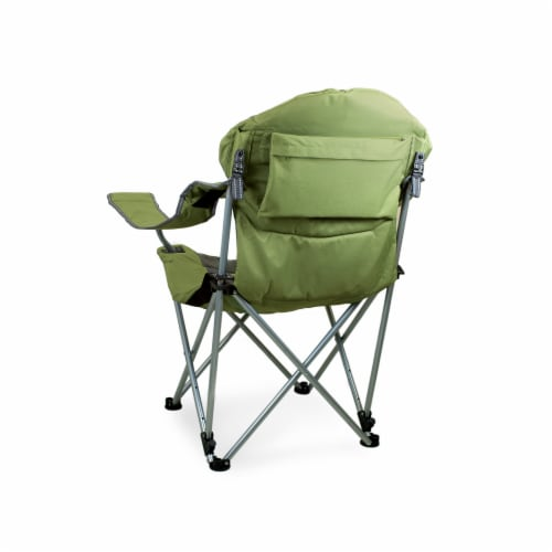 Reclining Camp Chair, Sage Green with Gray Accents Perspective: back