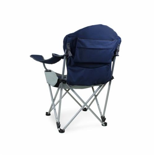 Reclining Camp Chair, Navy Blue with Gray Accents Perspective: back