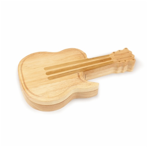 Guitar Cheese Cutting Board & Tools Set, Bamboo Perspective: back