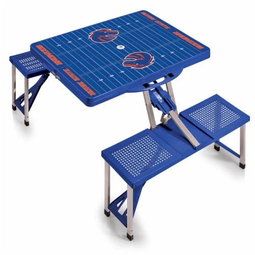 Boise State Broncos - Picnic Table Portable Folding Table with Seats Perspective: back