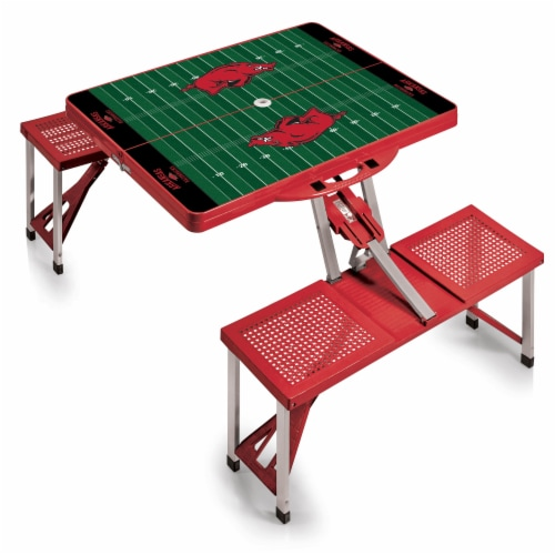 Arkansas Razorbacks - Picnic Table Portable Folding Table with Seats Perspective: back