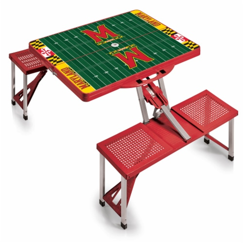 Maryland Terrapins - Picnic Table Portable Folding Table with Seats Perspective: back