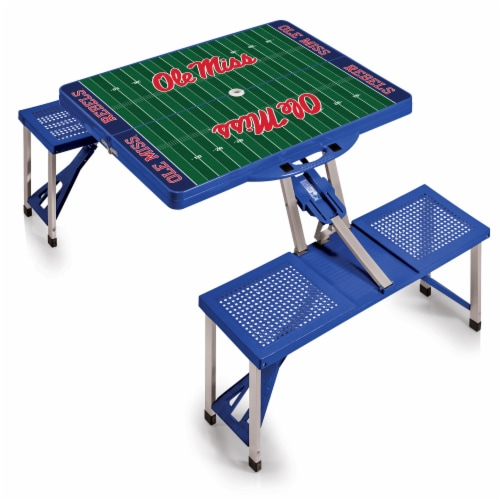 Ole Miss Rebels - Picnic Table Portable Folding Table with Seats Perspective: back
