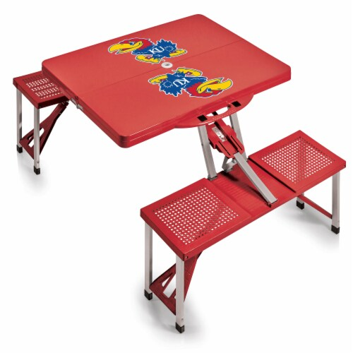 Kansas Jayhawks - Picnic Table Portable Folding Table with Seats Perspective: back