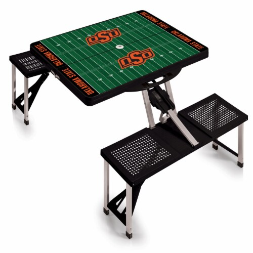 Oklahoma State Cowboys - Picnic Table Portable Folding Table with Seats Perspective: back