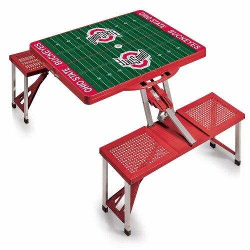 Ohio State Buckeyes - Picnic Table Portable Folding Table with Seats Perspective: back