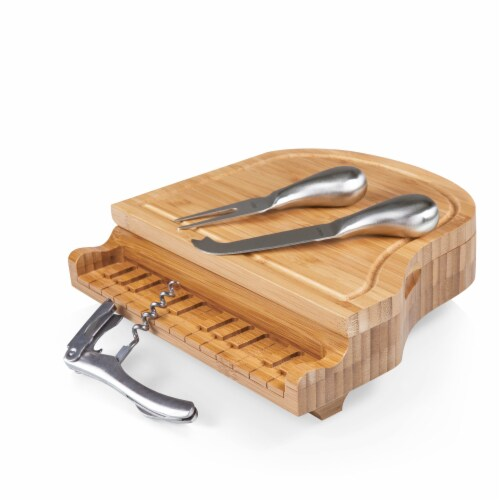 Piano Cheese Cutting Board & Tools Set, Bamboo Perspective: back