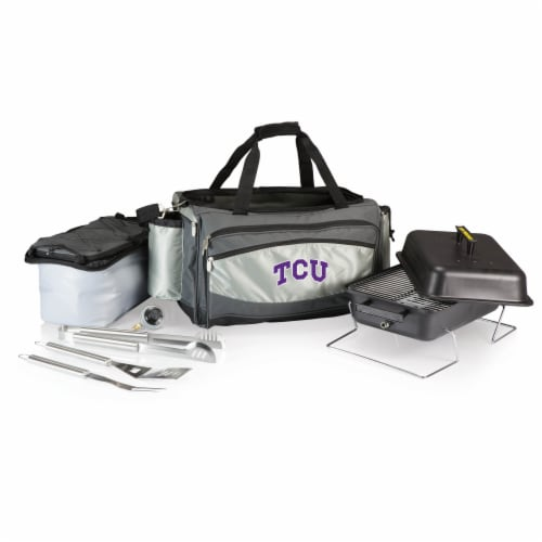 TCU Horned Frogs - Vulcan Portable Propane Grill & Cooler Tote Perspective: back