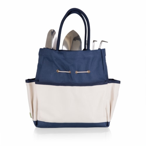 Garden Tote with Tools, Navy Blue with Beige Accents Perspective: back