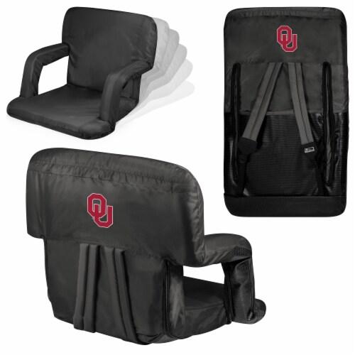 Oklahoma Sooners Ventura Portable Reclining Stadium Seat - Black Perspective: back