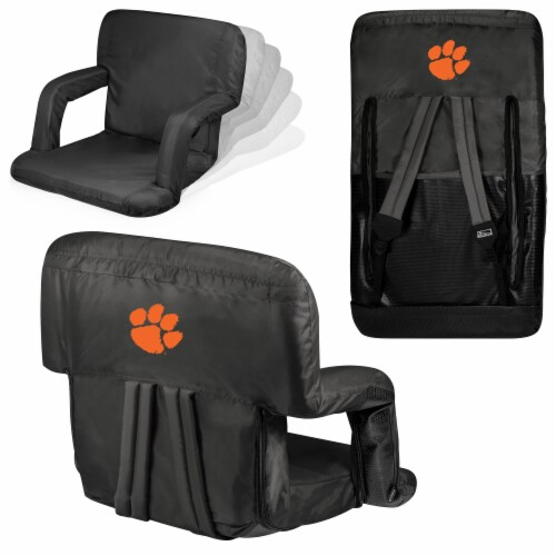 Clemson Tigers Ventura Portable Reclining Stadium Seat - Black Perspective: back