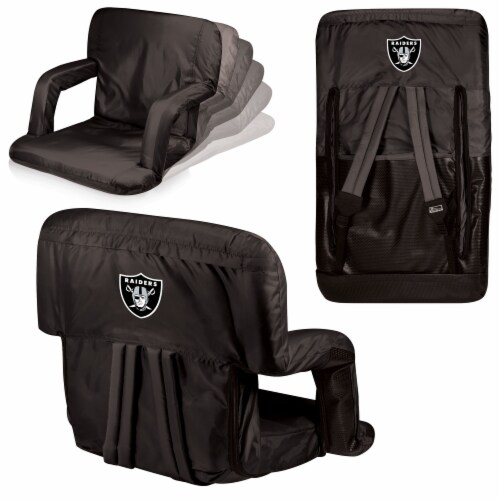 Oakland Raiders Ventura Portable Reclining Stadium Seat - Black Perspective: back