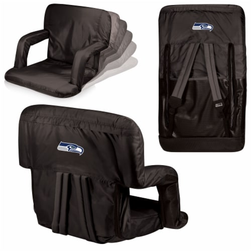 Seattle Seahawks Ventura Portable Reclining Stadium Seat - Black Perspective: back