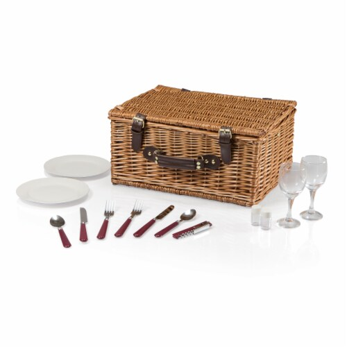 Bristol Picnic Basket, Navy Blue & Burgundy Plaid Pattern Perspective: back