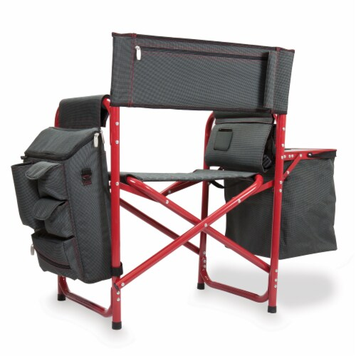 Fusion Backpack Chair with Cooler, Dark Gray with Red Accents Perspective: back