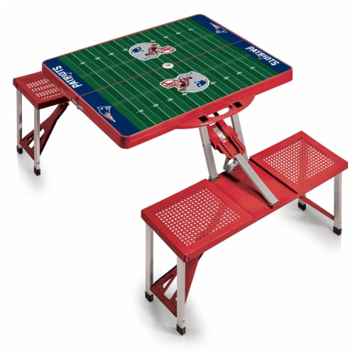 New England Patriots - Picnic Table Portable Folding Table with Seats Perspective: back