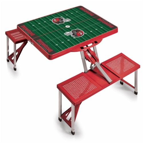 Tampa Bay Buccaneers - Picnic Table Portable Folding Table with Seats Perspective: back