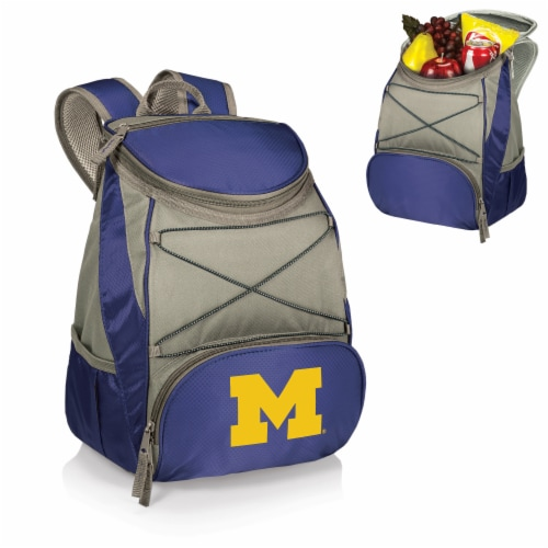 Michigan Wolverines PTX Cooler Backpack - Navy Perspective: back