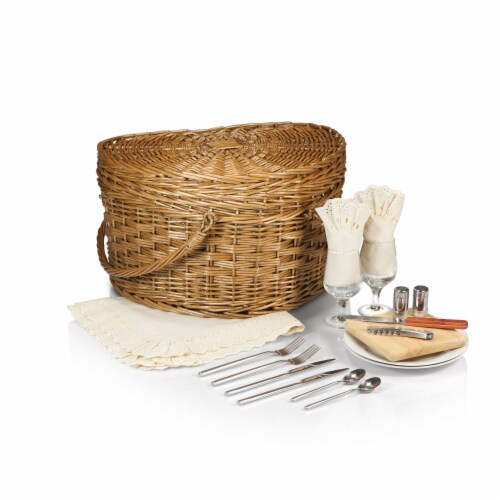Heart Picnic Basket, Antique White Perspective: back