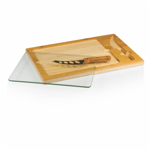 Icon Glass Top Cutting Board & Knife Set, Rubberwood & Bamboo Perspective: back