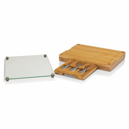 Concerto Glass Top Cheese Cutting Board & Tools Set, Bamboo Perspective: back