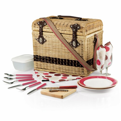 Yellowstone Picnic Basket, Brown with Beige & Red Accents Perspective: back