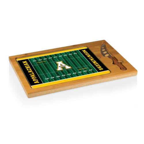App State Mountaineers - Icon Glass Top Cutting Board & Knife Set Perspective: back