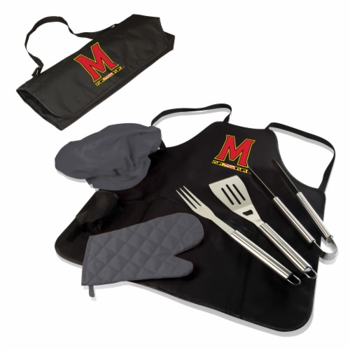 Maryland Terrapins - BBQ Apron Tote Pro Grill Set Perspective: back