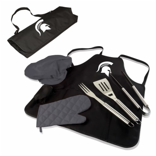 Michigan State Spartans - BBQ Apron Tote Pro Grill Set Perspective: back