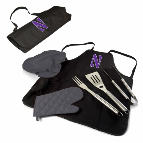 Northwestern Wildcats - BBQ Apron Tote Pro Grill Set Perspective: back
