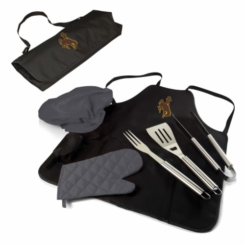 Wyoming Cowboys - BBQ Apron Tote Pro Grill Set Perspective: back