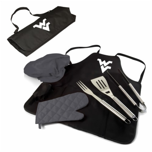 West Virginia Mountaineers - BBQ Apron Tote Pro Grill Set Perspective: back