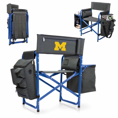 Michigan Wolverines - Fusion Backpack Chair with Cooler Perspective: back