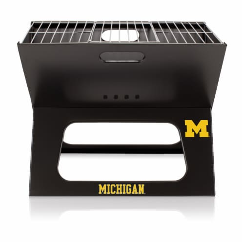 Michigan Wolverines - X-Grill Portable Charcoal BBQ Grill Perspective: back