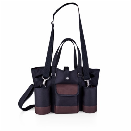 Wine Country Tote – Wine & Cheese Picnic Tote, Black with Burgundy Accents Perspective: back