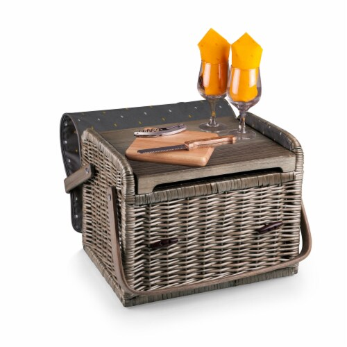 Kabrio Wine & Cheese Picnic Basket, Gray with Gold Accents Perspective: back