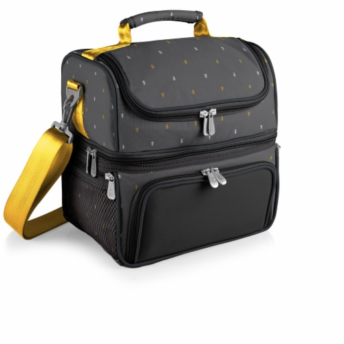 Pranzo Lunch Cooler Bag, Gray with Gold Accents Perspective: back