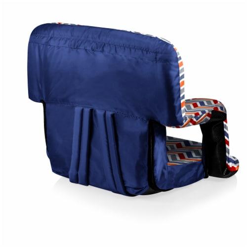 Ventura Portable Reclining Stadium Seat, Navy Blue, Orange, & Gray Pattern Perspective: back
