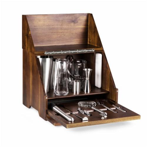 Madison Acacia Tabletop Bar Set, Acacia Wood Perspective: back